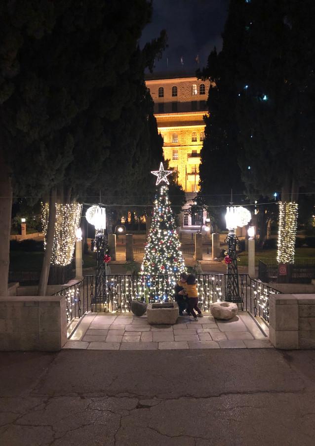 """עץ חג המולד, מרכז ימק""""א, ירושלים."""