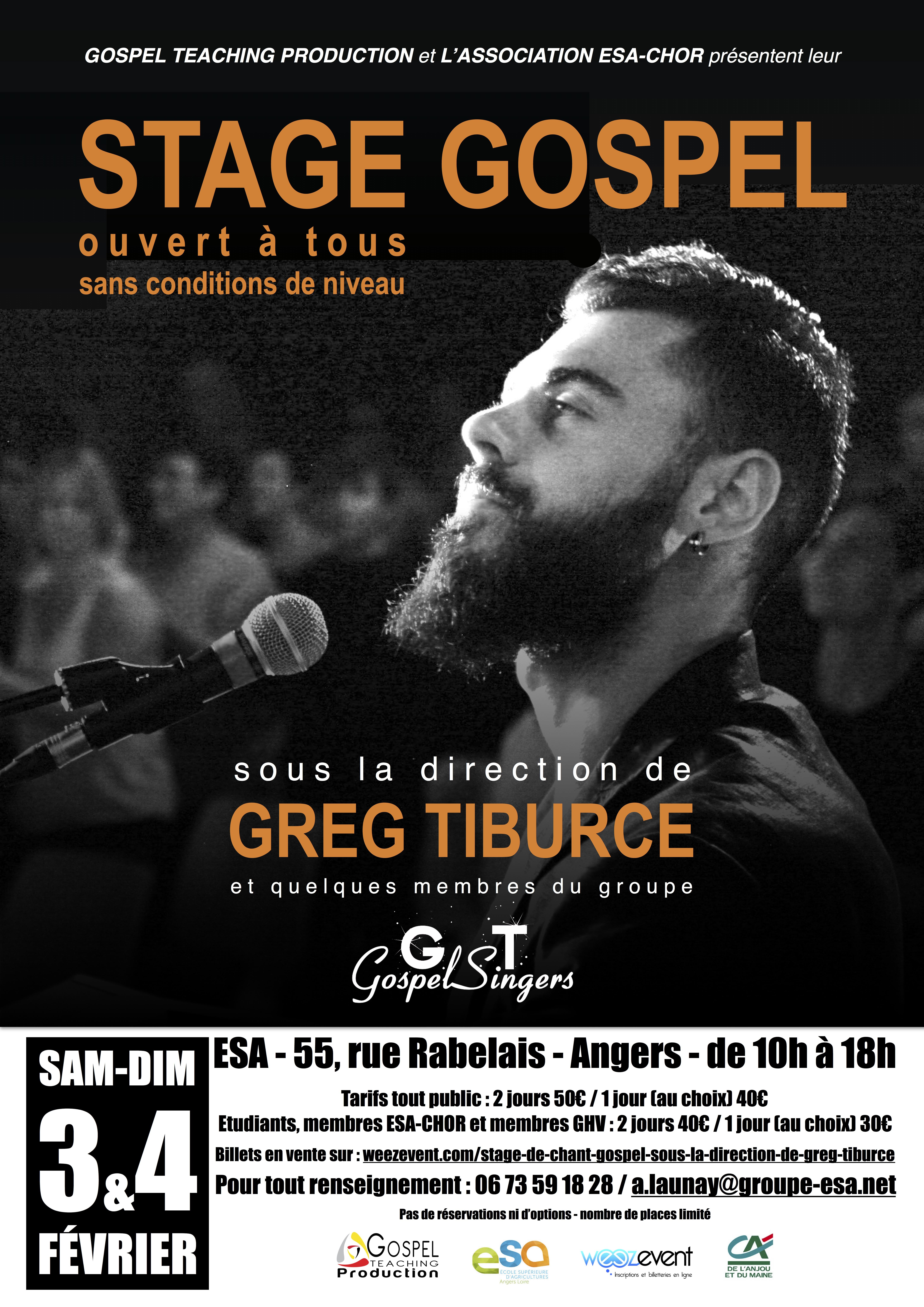 Stage avec GREG TIBURCE