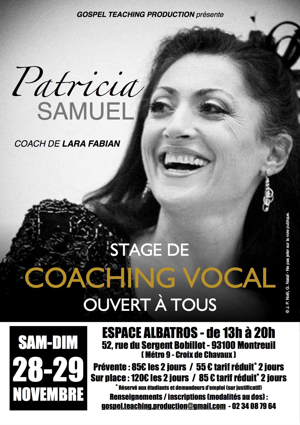 Stage avec PATRICIA SAMUEL (Paris)