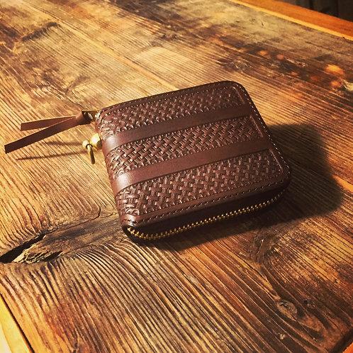 Round Zip Short Wallet Stripe Basket BROWN