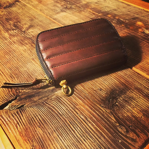 Round Zip Middle Wallet Tuck Roll BROWN