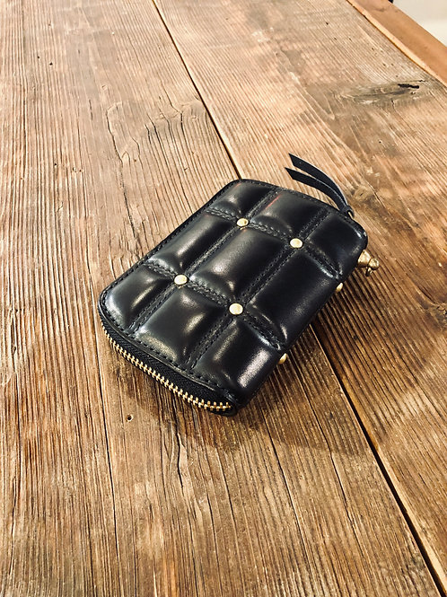 Round Zip Middle Wallet Type1 Double Stitch Black With Studs