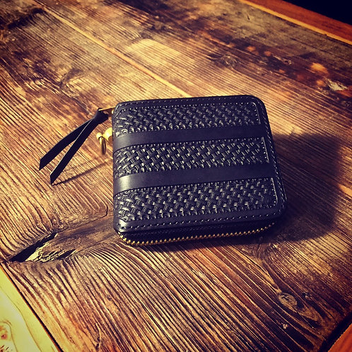 Round Zip Short Wallet Stripe Basket BLACK