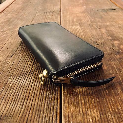 Round Zip Long Wallet Black