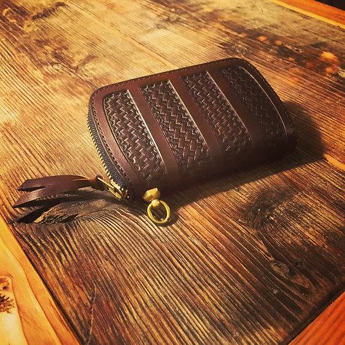Round Zip Middle Wallet Stripe Basket BROWN