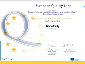 Európai Minősített eTwinning Projekt - Demo Party
