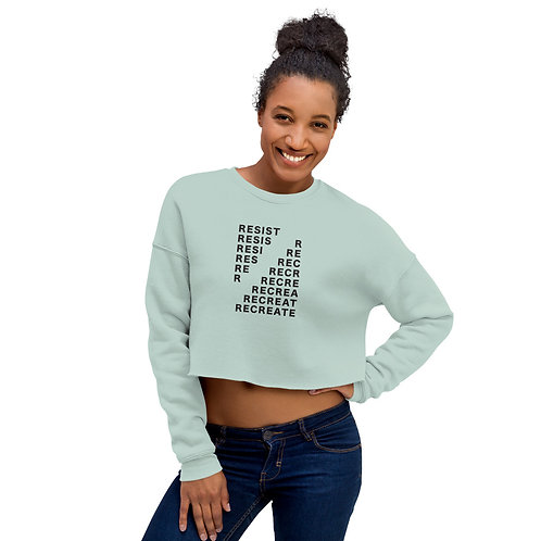 Resist Recreate CROP Sweatshirt - Black Ink