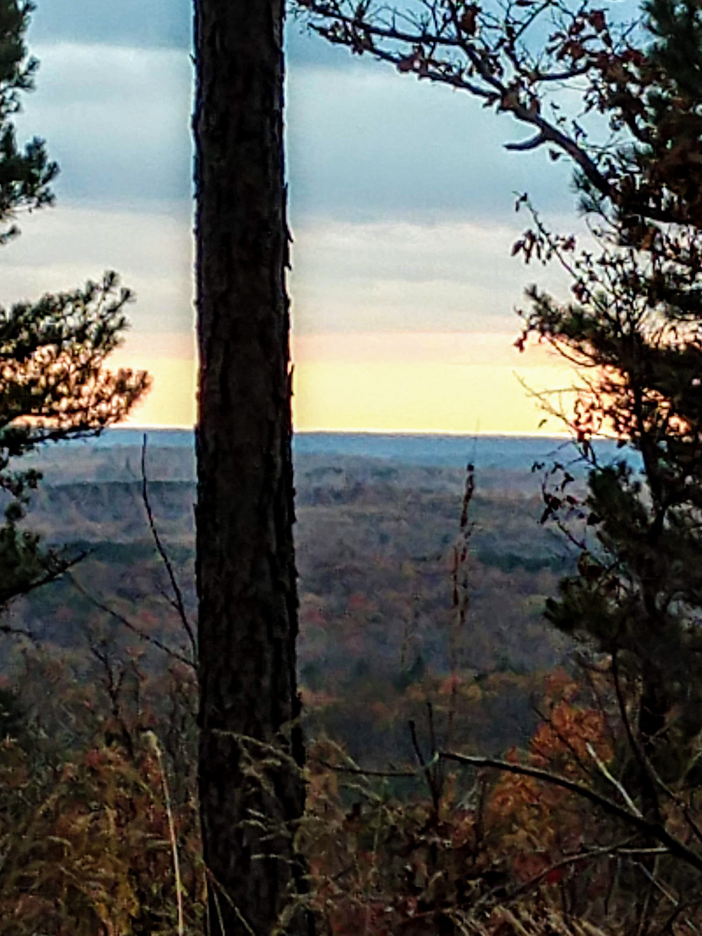 Evening from a Missouri Ozark mountain during deer season