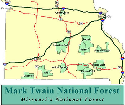 Map of Mark Twain National Forest