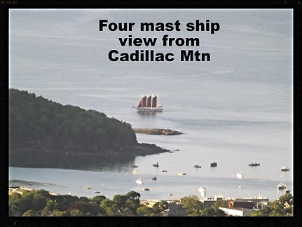 View of mast ship from drive thru Acadia National Park