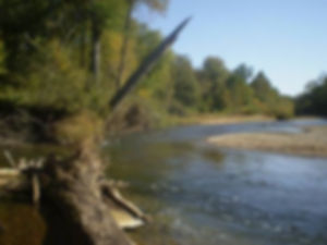 Beautiful stretch of riffles and deeper water on Huzzah Creek