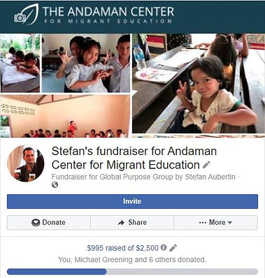 A Facebook fundraiser page for the Andaman Center for Migrant Education