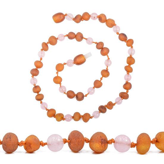 Baltic Amber Teething Necklace Cognac & Rose Quartz