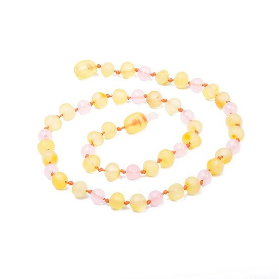 Baltic Amber Teething Necklace Lemon & Rose Quartz