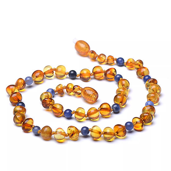 Baltic Amber Teething Necklace Cognac & Blue Sodalite