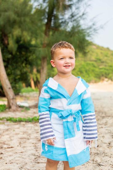 Turkish Towel Hooded Robe Bluey