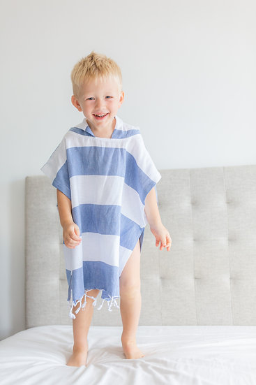 Turkish Towel Hooded Poncho Blue