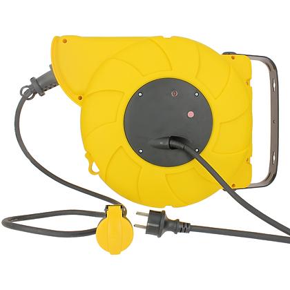 Enrouleur de câble électrique automatique avec disjoncteur thermique 16A - 20m
