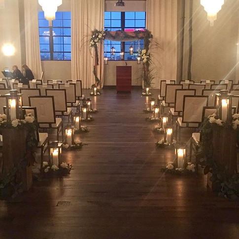 Winter wedding aisle