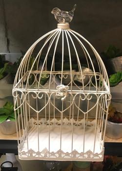 White Bird Cage Card Holder
