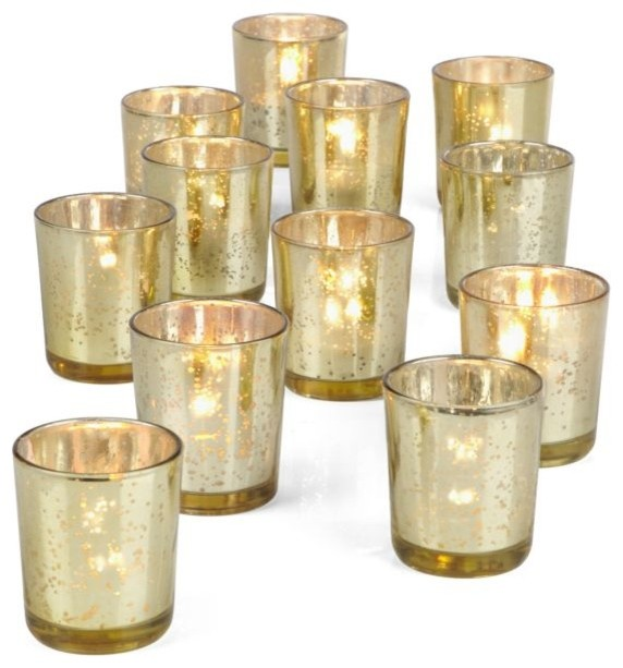 Gold or Silver Mercury Glass Votives