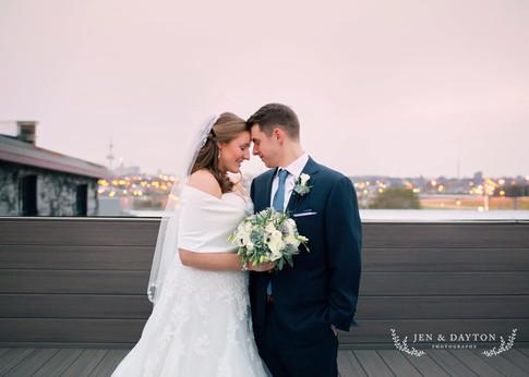 A winter wedding embrace