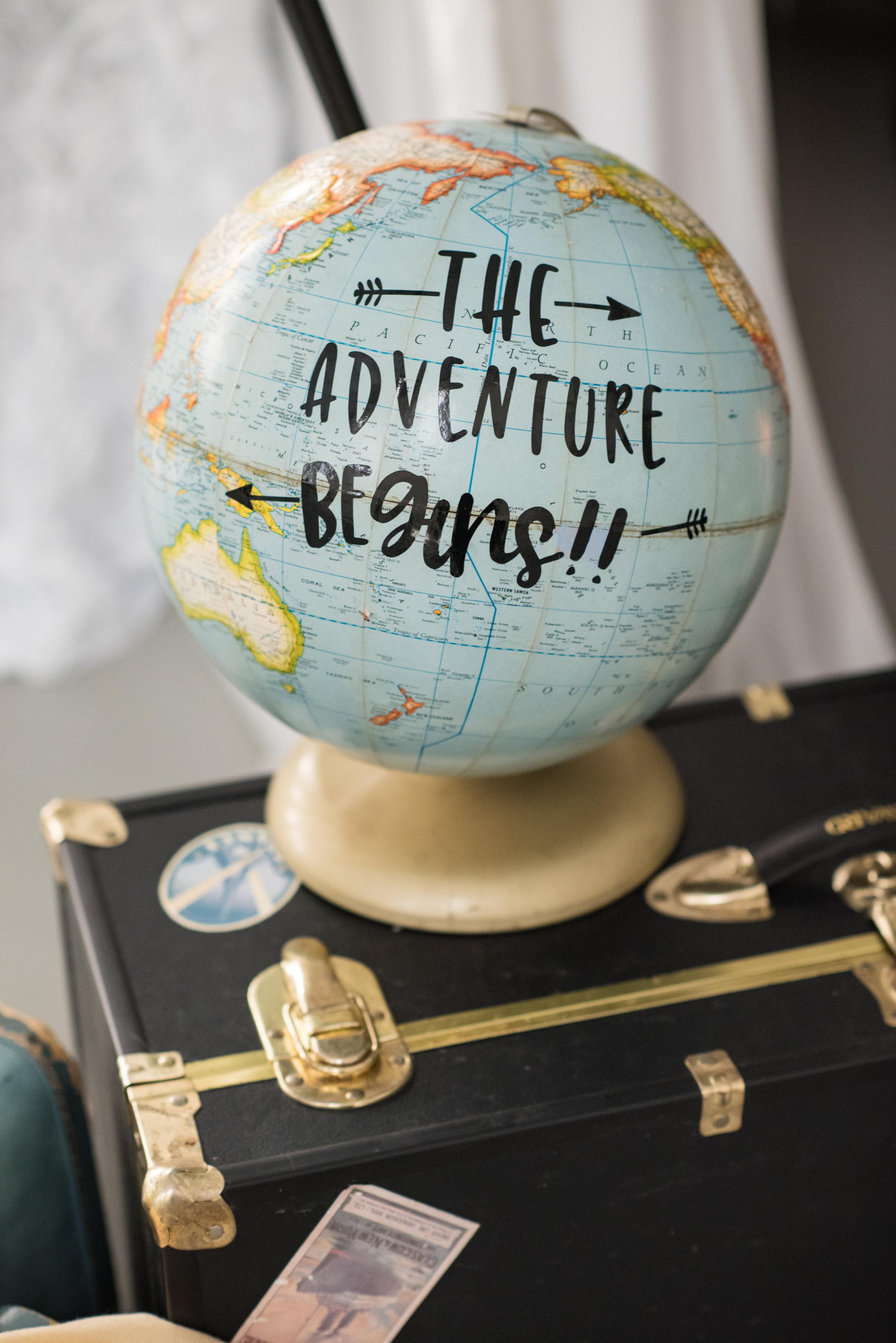 """Adventure Awaits"" Globe"