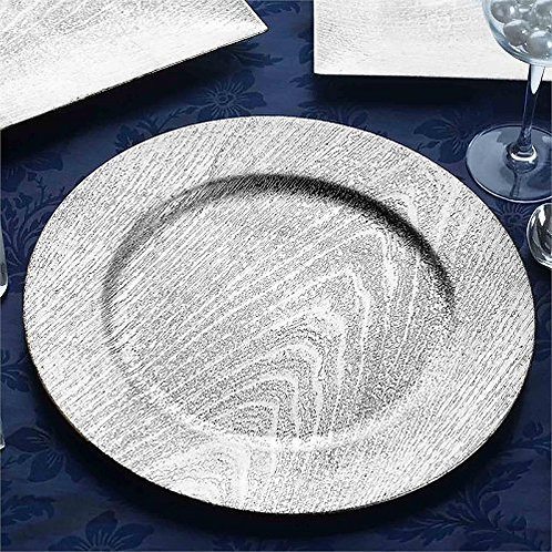 """Silver Grained Pattern Charger Plates 13"""" (non-glass)"""