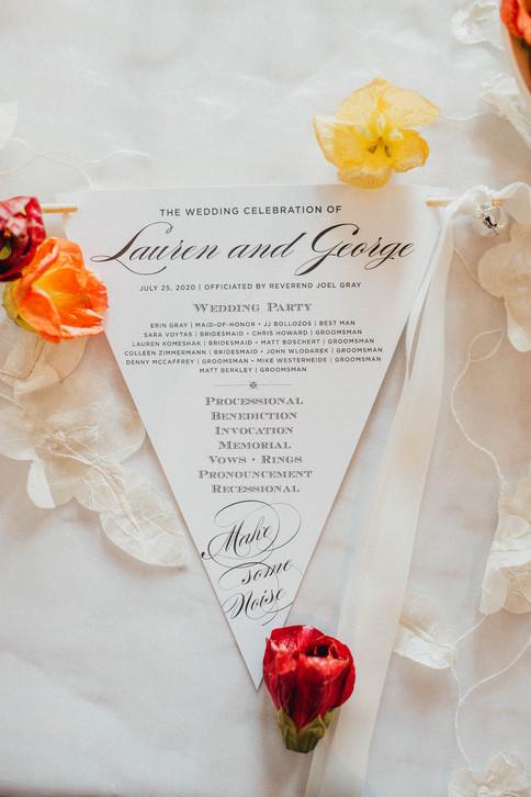 Wedding Program Pennant