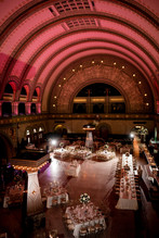 Reception Venue: Union Station Grand Hall Photographer: Ashley Fisher Photography Florals: Belli Fiori Wedding Planner: Inspired Design Weddings & Events Cake:Sugarbelle Cakery Dress: Simply Elegant Bridal Wedding Designer: Table 10 Events