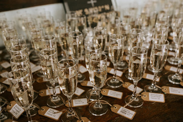 Escort Card Champagne Flutes