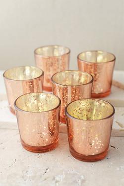 Rose Gold Mercury Glass Votives
