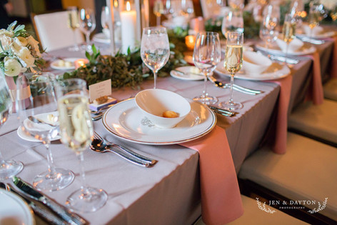 Gray and blush head table