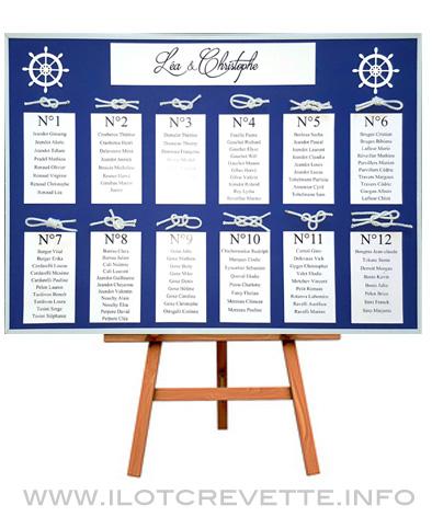 plan de table thème marin