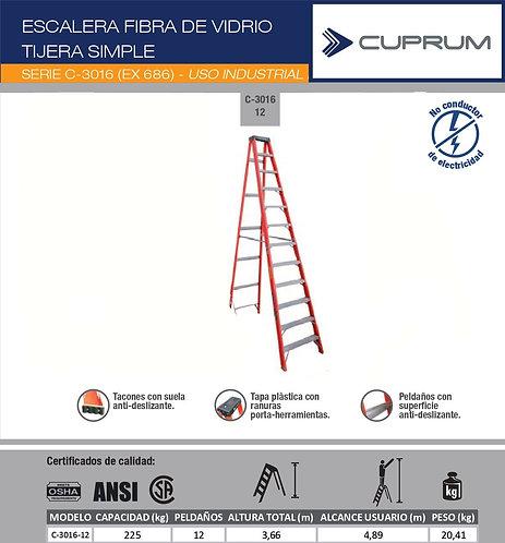 ESCALERA TIJERA FIBRA DE VIDRIO 3.66 M - 12 PEL