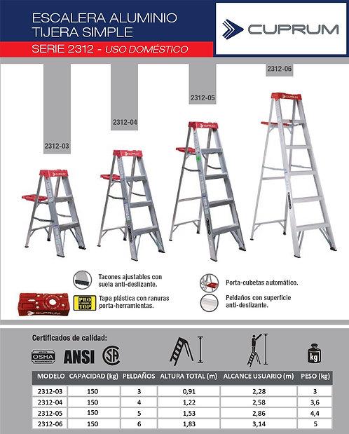 Escalera Aluminio Tijera 2312 Cuprum - Capacidad 150 KG