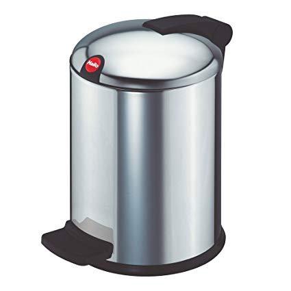 BASURERO ACERO INOX. CON TAPA Y PEDAL 4 L.