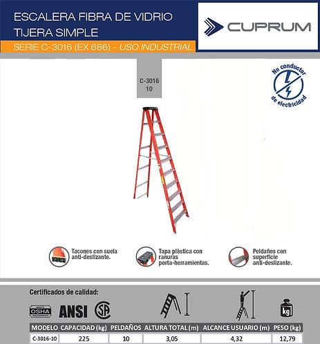 ESCALERA TIJERA FIBRA DE VIDRIO 3,05 M - 10 PEL.