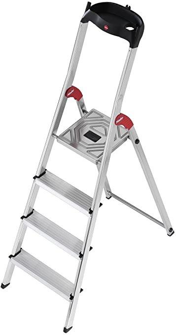 Escalera Tijera Aluminio Plataforma 4 peldaños