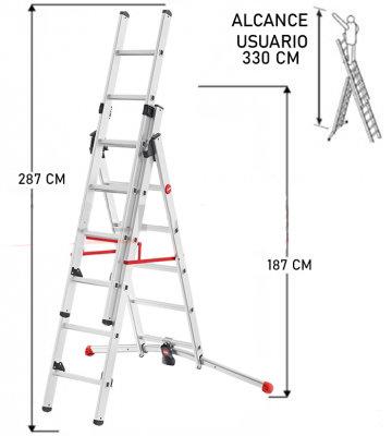 ESCALERA DE ALUMINIO TIJERA CON EXTENSION 4.70 M.