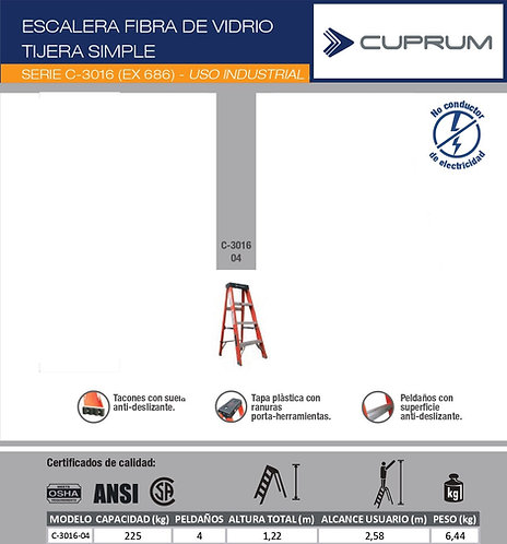 ESCALERA TIJERA FIBRA DE VIDRIO 1.22 METROS