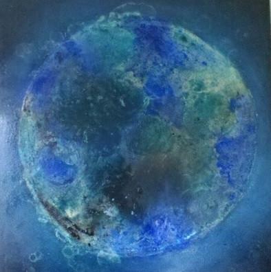Think Blue-Blue Planet, 100x100, Mischtechnik mit Pigmenten, 2016