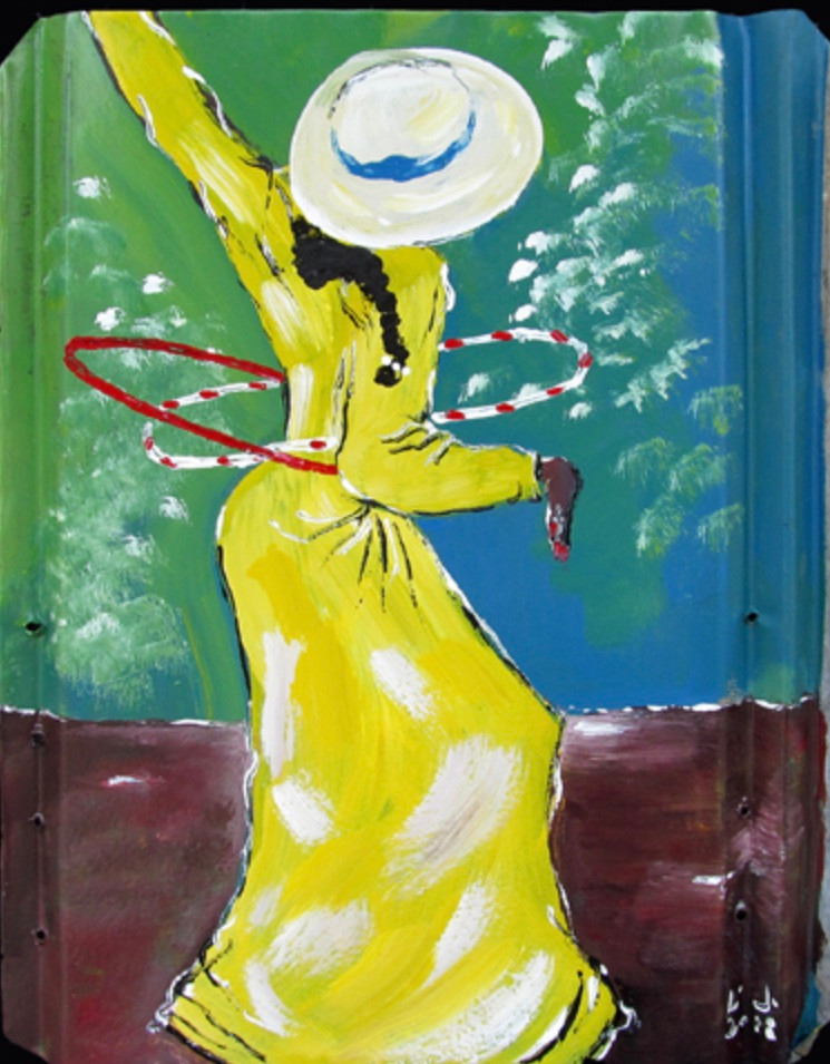 """Dancing with Hula Hoops"" celebrates the dancer's joy of music and motion and feeling pretty in her long dress and fancy hat."