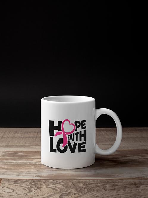 Hope Faith Love white mug