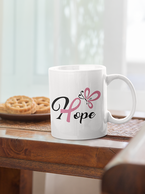 Hope with butterfly white mug