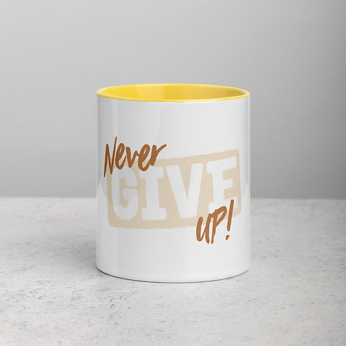 Never Give Up! Mug with Color Inside