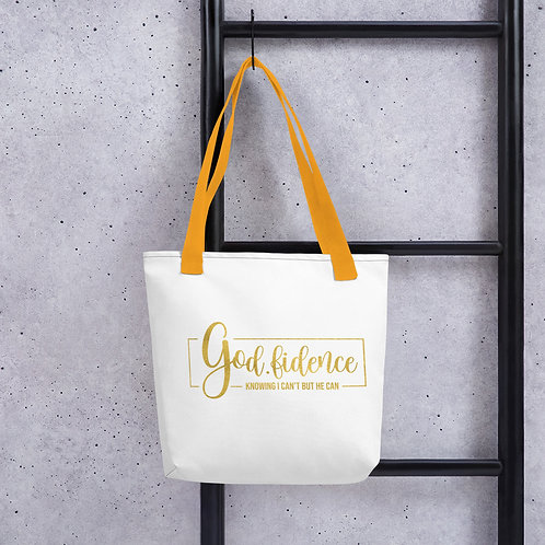 God-Fidence Knowing I Can't But He Can Tote bag
