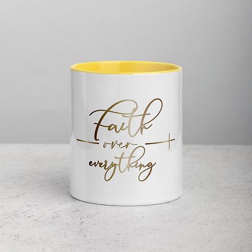 Faith Over Everything Mug with Color Inside