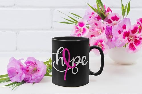 Hope with ribbon black mug