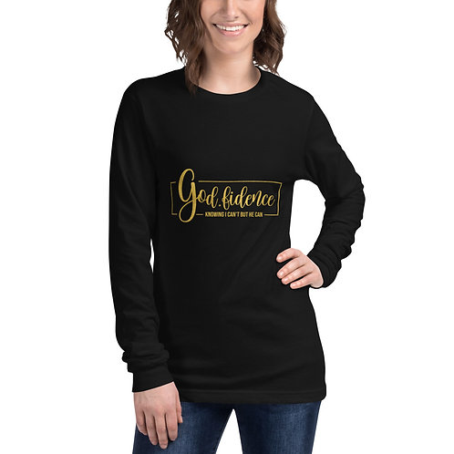 God-Fidence Knowing I Can't But He Can Unisex Long Sleeve Tee